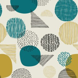 Canvas Gold estampado Geometric Aqua